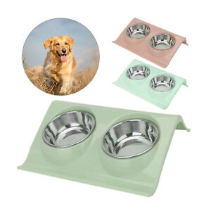 Double Bowls Raised Stand For Cat Pet Dog Puppy Non-Slip Splash Feeder Bowl