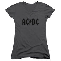 ACDC AC DC Rock Band Classic WORN LOGO Licensed Juniors V-Neck Tee Shirt