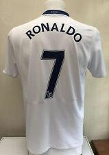 Manchester United Away Football Shirt 2008/09 RONALDO 7 Medium M White Nike AIG