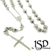 "Stainless Steel Men's Women's 10mm Rosary Silver White Chain Necklace  36"" + 7"""