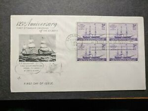 SS SAVANNAH FDC 1944 WWII First Day Cover STEAMSHIP Cachet #923 BLOCK of 4