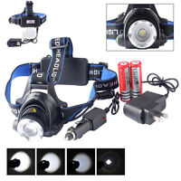 20000LM ZOOMable XM-L T6 LED 18650 Battery Headlamp Headlight AU AC Charger
