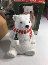 Vintage Authorized Coca Cola Polar Bear Cookie Jar 1996 Used In Box