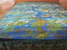 T-HANDPRINTED BED SHEET THROW WALL HANGING BEDSPREAD UNIQUE TREE OF LIFE DESIGN