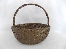 """Vintage Brass Wire Woven Basket 8"""" Round with Hinged Handle India #4619"""