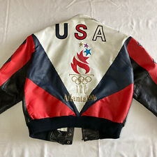 Vintage 1996 Olympic Games Atlanta USA Leather Jacket M American Toons No Zipper