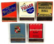 Detroit Michigan Hotels Matchbook Covers Advertising Vintage Lot of 5 Empty