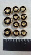 WATERBURY Men Metal BLAZER/JACKET BUTTON SET Crown SB 3&8 Gold/Blk. Enamel/Epoxy