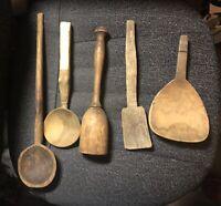 Lot Of 8 Antique Primitave Wooden Spoons & Nut Crackers