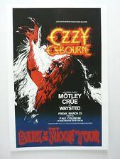 Ozzy Osbourne & Motley Crue 17x24 1984 Tour Poster Lithograph Poster