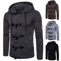 Winter Men's Fashion Horn Button Wool Coat Jacket Hooded Warm Overcoat Outwear
