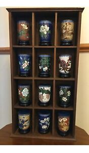 Vintage Collectors Set of 12 Chinese Cloisonne Miniature Vases and Display Stand