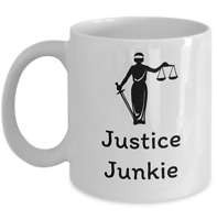Lawyer coffee mug - Justice junkie - Funny Law degree advocate attorney gift cup