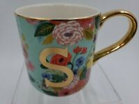 Rifle Paper Co For Anthropologie Floral Coffee Cup Mug Gold Letter S Monogram