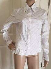 Gently Worn Worthington Stretch White and Black Collared Button Down Blouse Sz 8