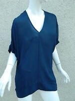 BCBG Max Azria Shirt Navy Blue Drape  Blouse Top Shirt  Size  X-Small