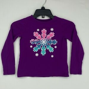 Lands' End Girls Size Medium 5 6 Long Sleeve T-Shirt Purple Snowflake Glitter