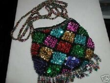 SEQUIN FRINGE PURSE SMALL EVENING BAG MULTI COLOR PROM FORMAL AFFAIR GLITTERING!