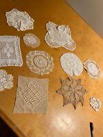 lot of 11 Hand Crochet Doilies White & Natural Vintage Wedding Tea Party K8dd