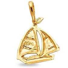 Yacht Pendant Solid 14k Yellow Gold Sail Boat Charm Polished Quality Design