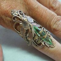 Vintage 925 Sliver Emerald Peridot 18K Gold Plated Ring Women Men Wedding Sz6-10