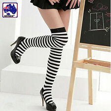 Women Lady Adult Black White Stripe Socks Over Knee Cosplay Costume CSOCK 0595