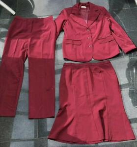 Kostüm Hosenanzug Business 3 Teilig Blazer Hose Rock  Rot Größe 42 HELENA VERA