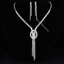 Bridal Wedding Jewelry Prom Rhinestone Crystal Necklace Earrings Set N300