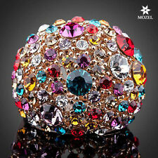 MOZEL Rose Gold Plated Multicolor Swarovski Crystal Fashion Women Finger Rings