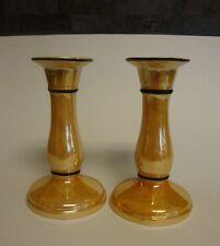"Pair / 2 Vintage Marigold Peach Luster Candlestick Holders Czechoslovakia 5 3/4"""