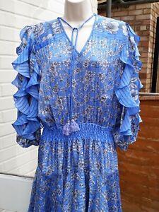 Vintage Diane Freis 80's Bohemian/Hippy Blue Grey Floral Dress. Uk 14
