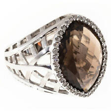 18.11cts Faceted Top Smoky Topaz & Halo Roung CZ Classic 925 Silver Women's Ring