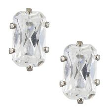 Studex Sensitive Steel Rectangle Cubic Zirconia CZ Stud Earrings Claw Setting
