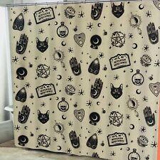 Halloween Shower Curtain Fabric Ouija Board Style Mystical Symbols Spooky Decor