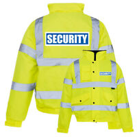 Yellow Reflective Security Hi Vis Bomber Jacket Printed Work Coat High Viz