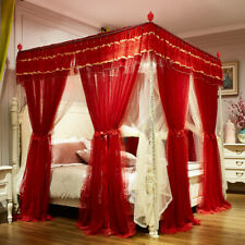 Bed curtains mosquito net Elegant metal bar frame 4 corner canopy Mosquito bar