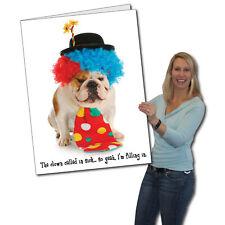 Giant Birthday Card, Dog Clown - 2' x 3' w/envelope-