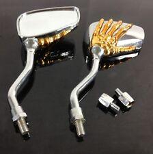 rétroviseurs moto skull OR & Chrome Neuf - skull mirror moto custom quad trike