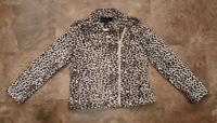 Colleen Lopez Faux Suede Leopard Print Moto Jacket - Size M