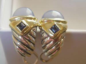 $1175 DAVID YURMAN 14K GOLD BLUE CHALCEDONY IOLITE EARRINGS