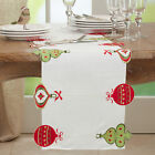 """Fennco Styles Embroidered Ornaments Holiday Table Runner 16"""" W x 72"""" L"""