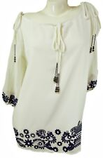 EMBROIDERED COLD SHOULDER WHITE CHIFFON TUNIC TOP, FIT UK 10-14, LT473