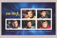 STAR TREK = KIRK = SPOCK  Souvenir Sheet from PRESTIGE booklet  MNH Canada 2016