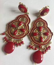 grande boucles clips style ancien couleur or et rouge pampille 3779