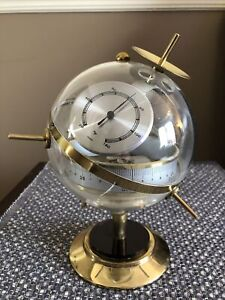 Vintage Sputnik Weather Station Thermometer Barometer West Germany Glass Round
