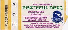GRATEFUL DEAD TICKET STUB  09-28-1993  BOSTON GARDEN  **MAIL ORDER**
