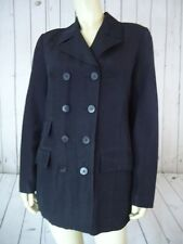 BCBG MAXAZRIA Double Breasted Coat S Lightweight Black Slub Linen Acetate Shiny