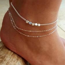 Love Elegant Cube Silver Anklet Foot Chain Bracelet Barefoot Sandal Beach Foot