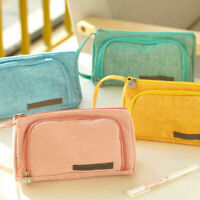 Student Girls Zipper Canvas Pen Pencil Case School Stationery Cosmetic Bag Pouch