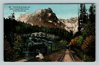 Railroad Traveling Through The Snow Capped Mountains Northwest Vintage Postcard